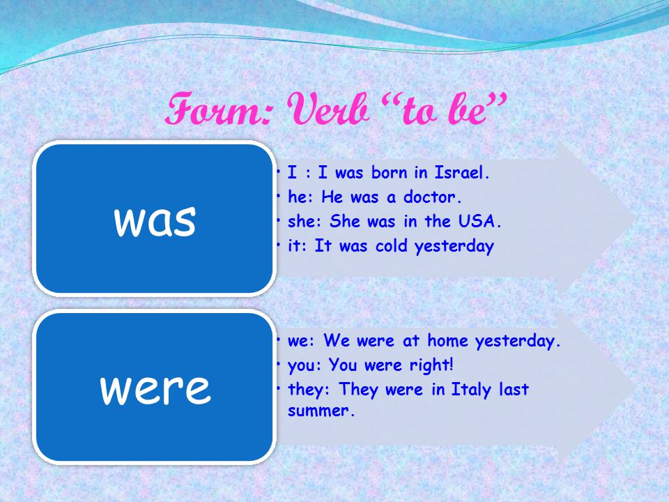 was were Form: Verb to be I : I was born in Israel.