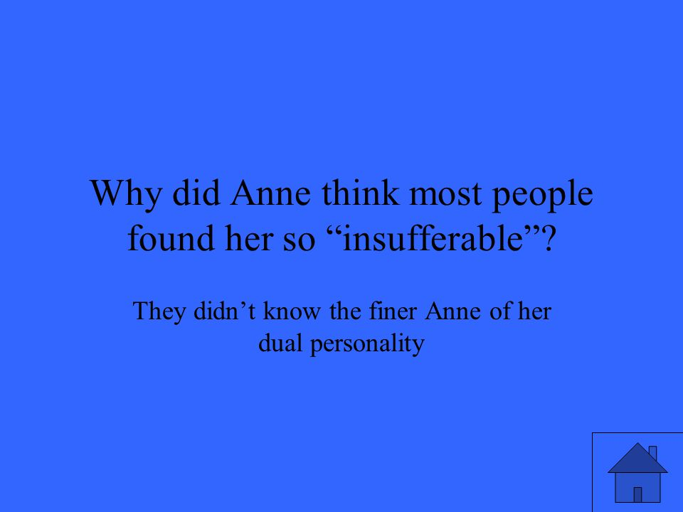 Why did Anne think most people found her so insufferable