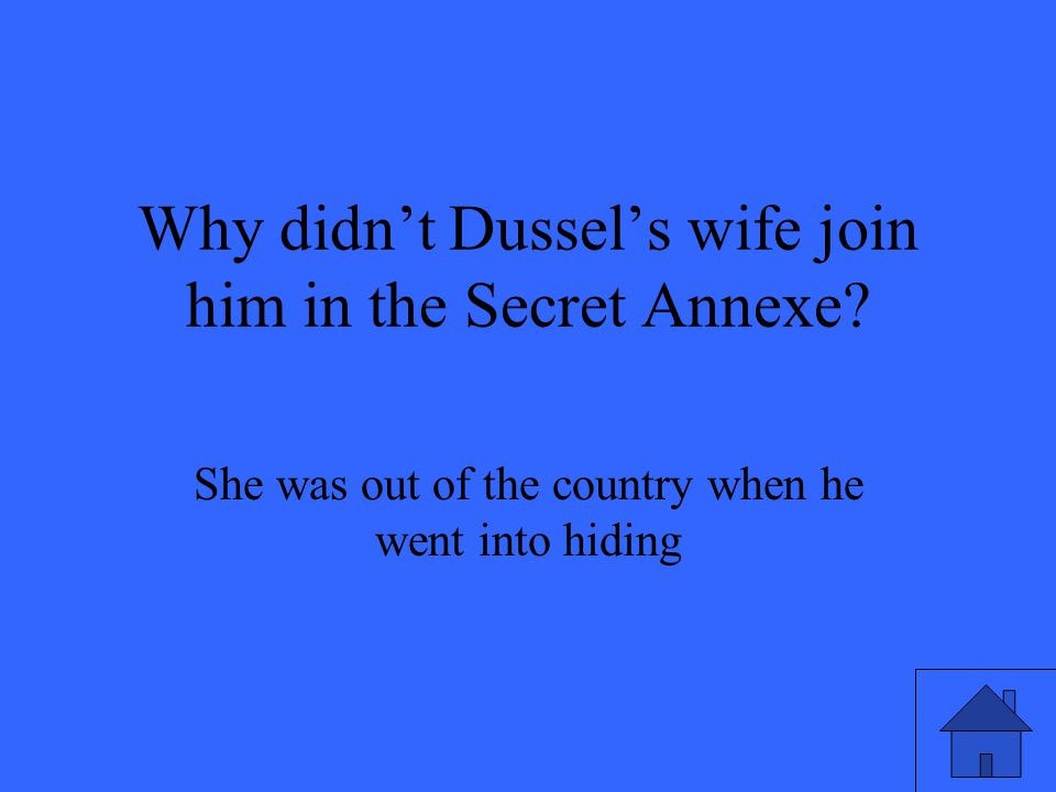 Why didn't Dussel's wife join him in the Secret Annexe