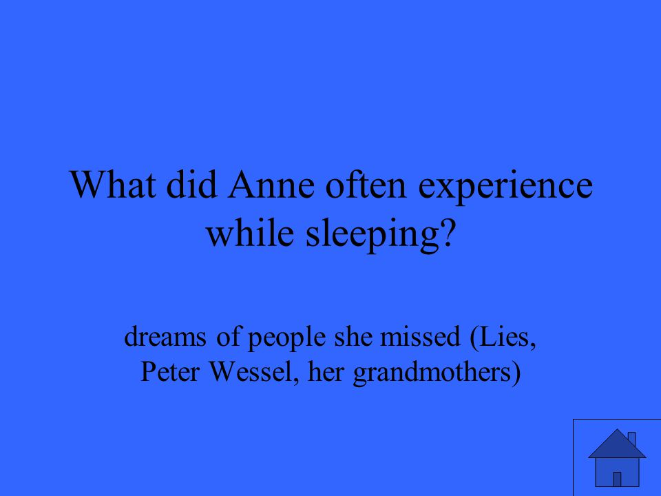 What did Anne often experience while sleeping