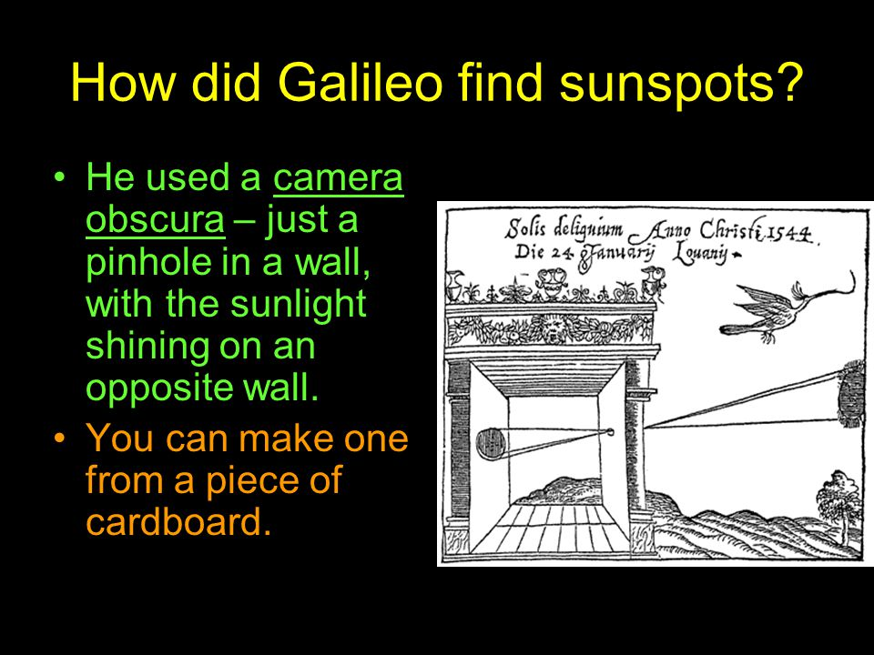 How did Galileo find sunspots
