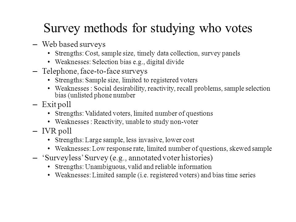 Survey methods for studying who votes