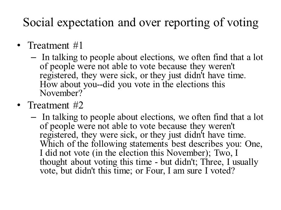 Social expectation and over reporting of voting
