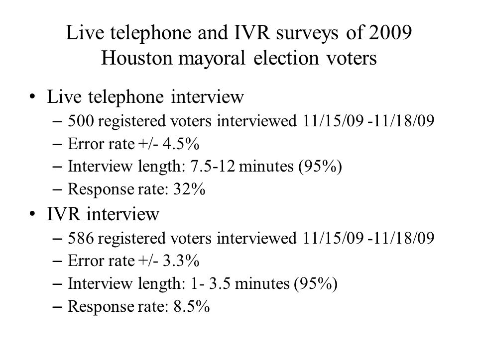 Live telephone and IVR surveys of 2009 Houston mayoral election voters