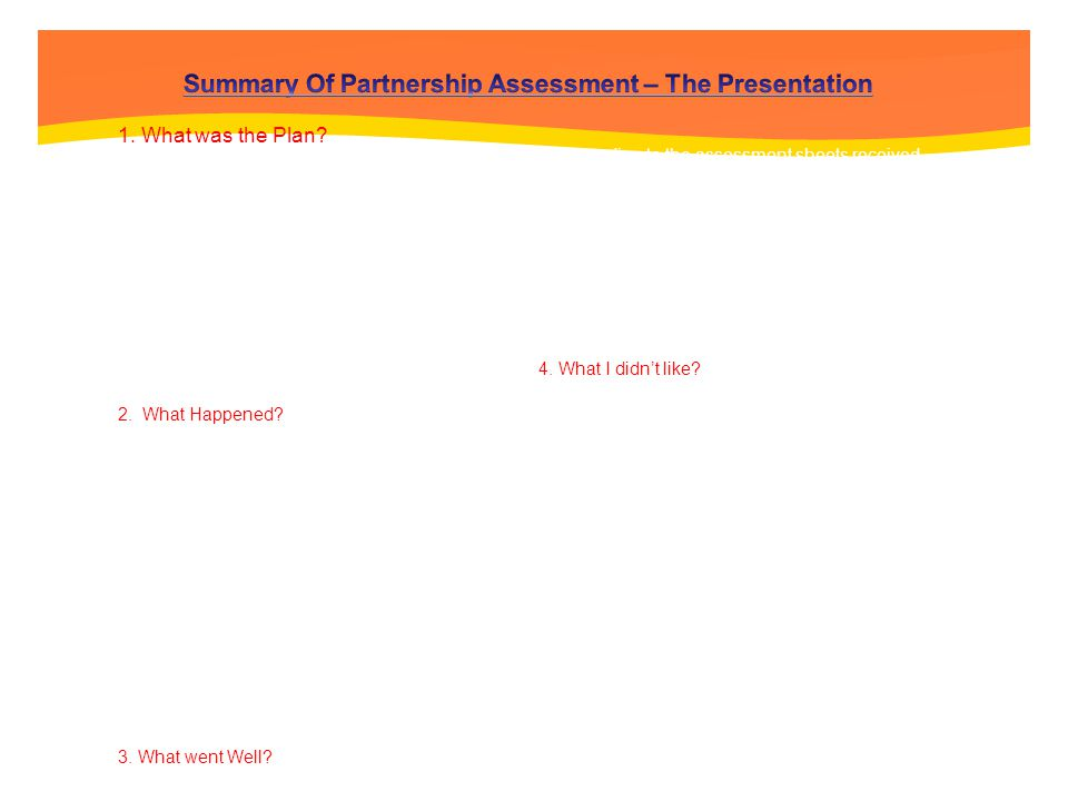 Summary Of Partnership Assessment – The Presentation