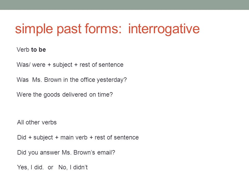 simple past forms: interrogative