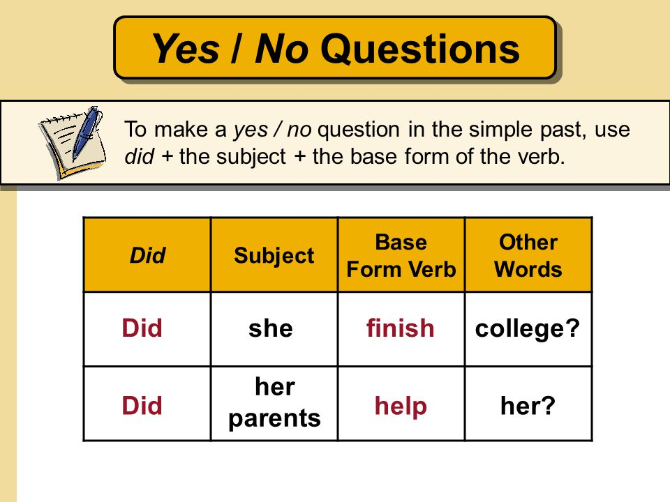 Yes / No Questions Did she finish college her parents Did help her