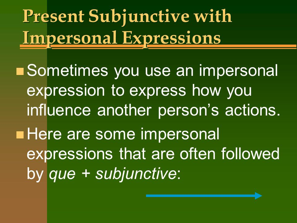 Present Subjunctive with Impersonal Expressions