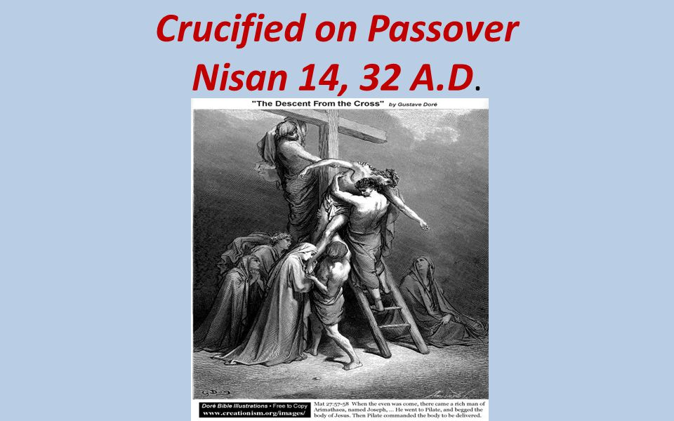 Crucified on Passover Nisan 14, 32 A.D.