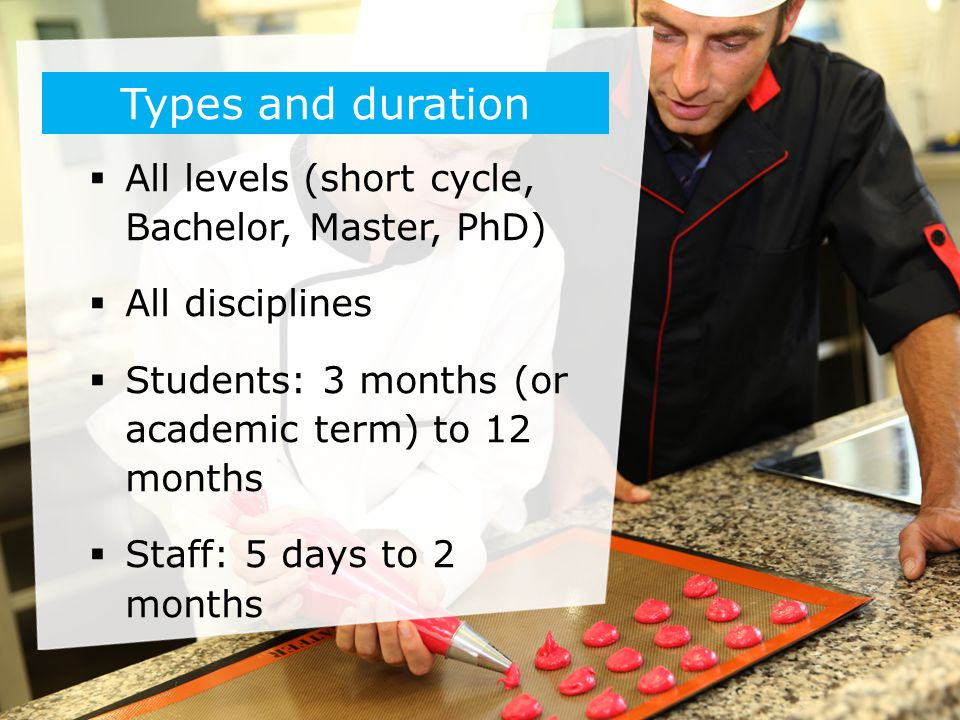 Types and duration All levels (short cycle, Bachelor, Master, PhD)