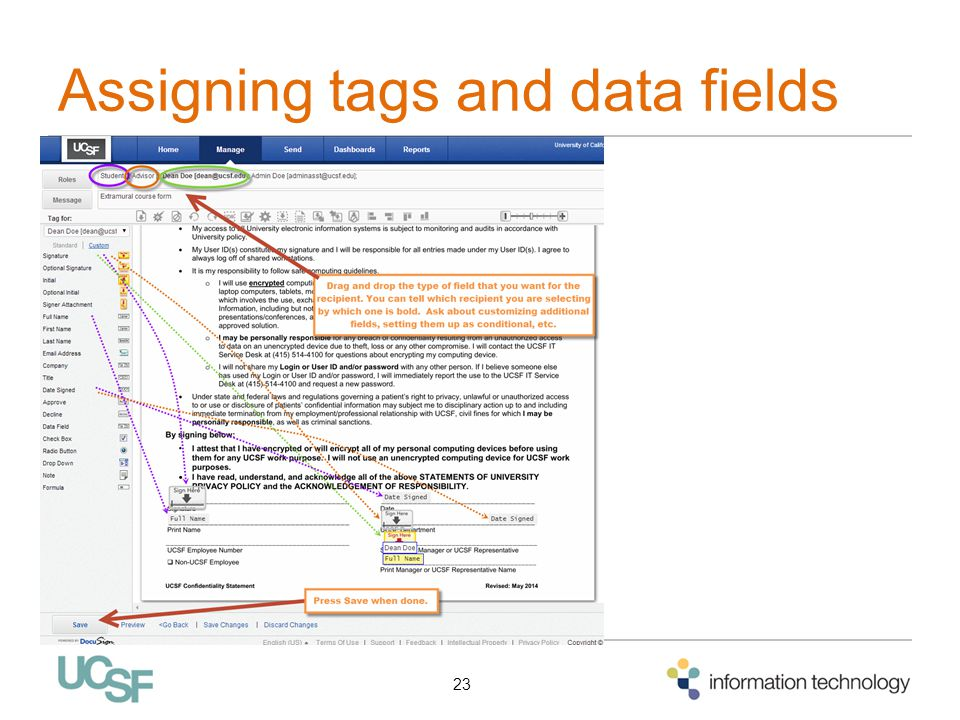 Assigning tags and data fields