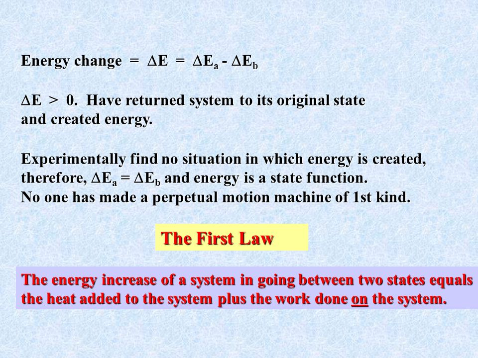 The First Law Energy change = E = Ea - Eb