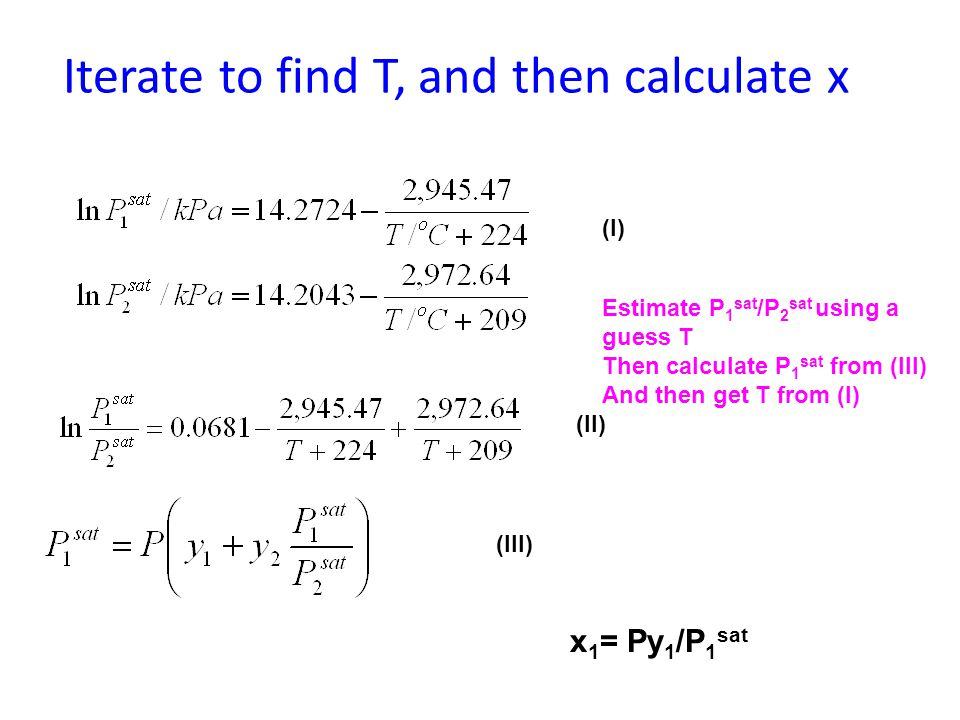 Iterate to find T, and then calculate x