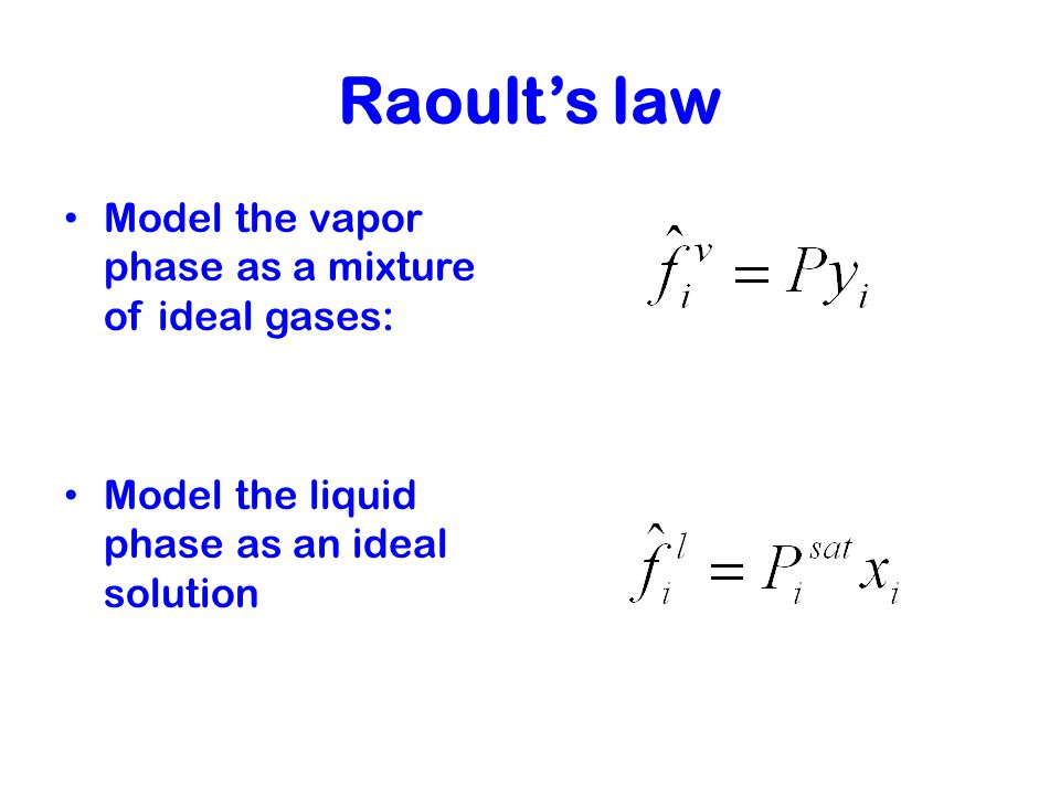 Raoult's law Model the vapor phase as a mixture of ideal gases: