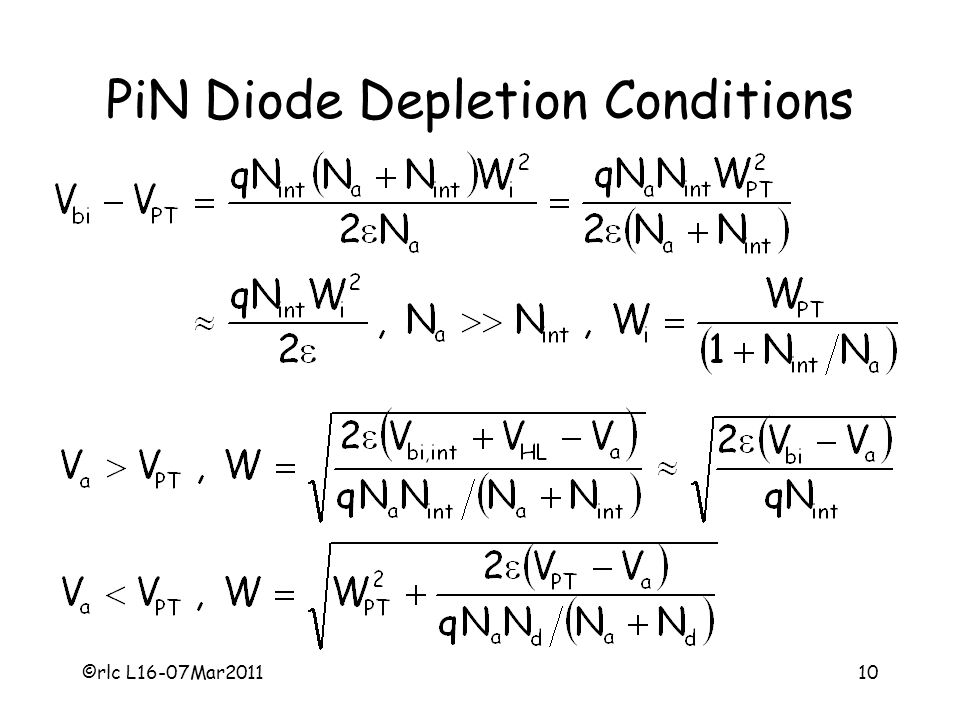 PiN Diode Depletion Conditions