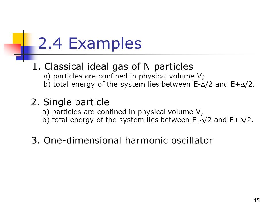 2.4 Examples 1. Classical ideal gas of N particles 2. Single particle