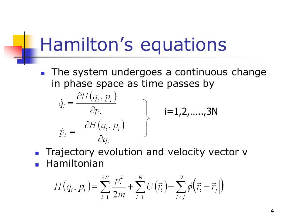 Hamilton's equations The system undergoes a continuous change in phase space as time passes by. i=1,2,…..,3N.