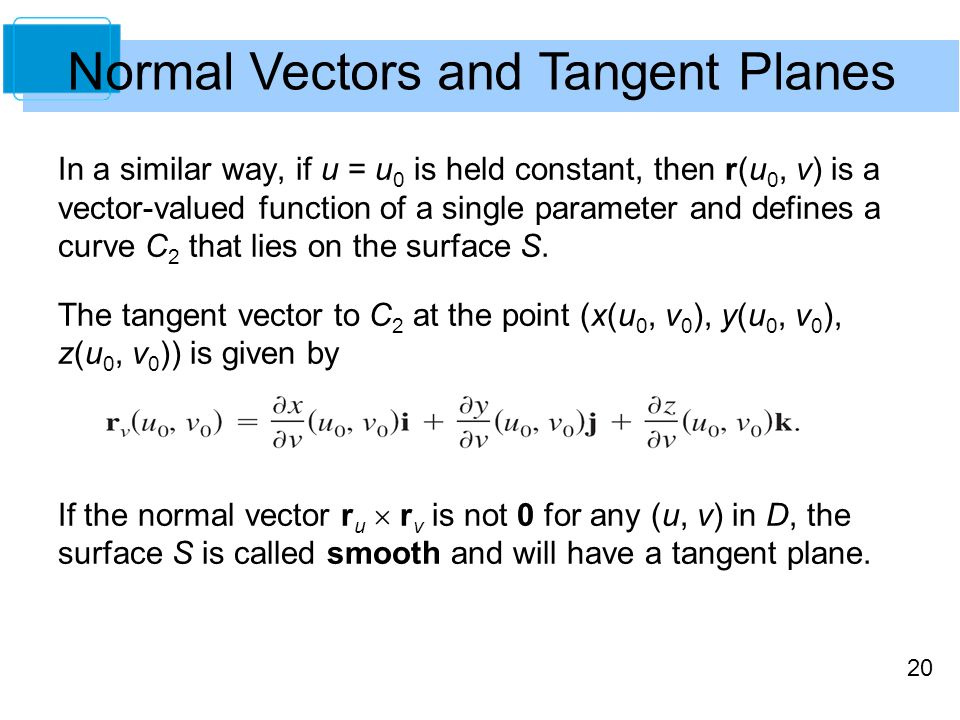 Normal Vectors and Tangent Planes