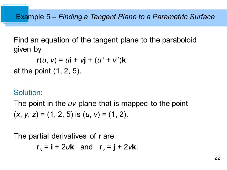 Find an equation of the tangent plane to the paraboloid given by