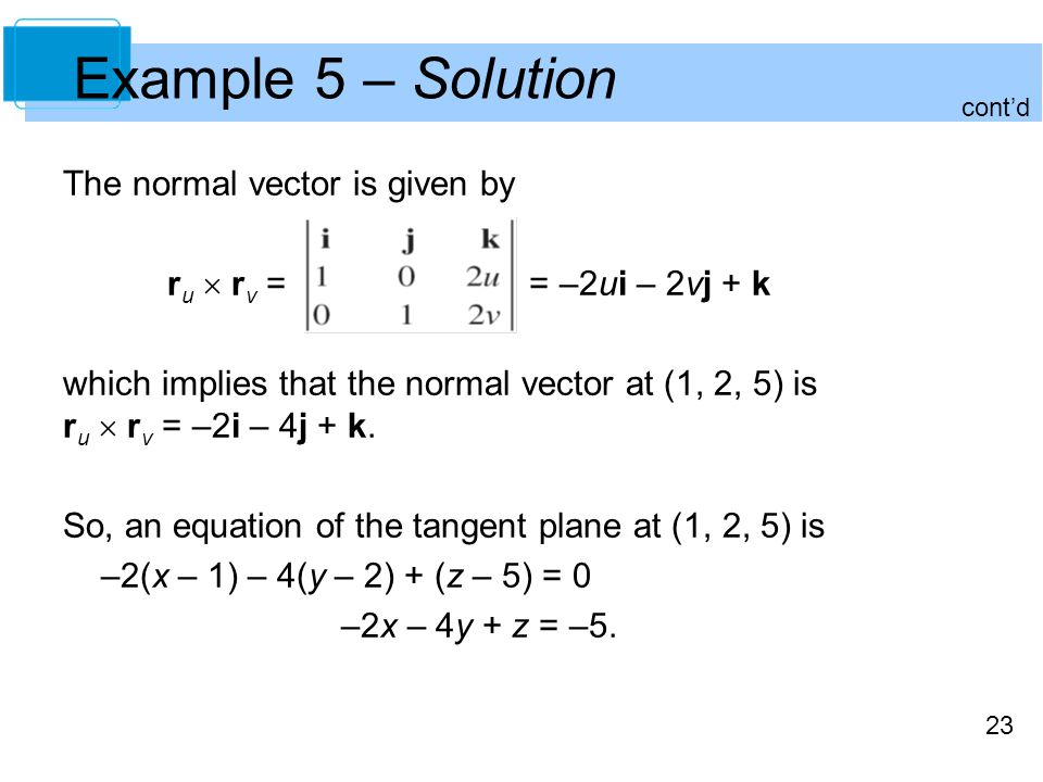 Example 5 – Solution The normal vector is given by