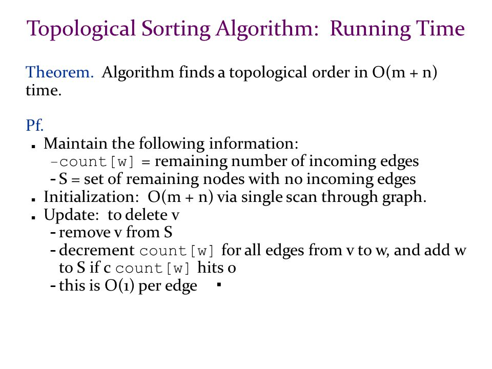Topological Sorting Algorithm: Running Time