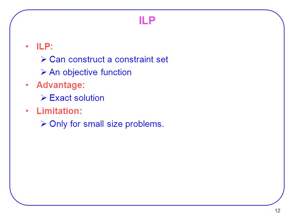 ILP ILP: Can construct a constraint set An objective function