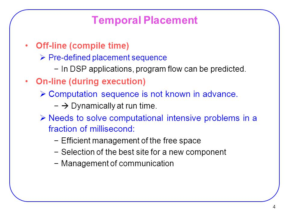Temporal Placement Off-line (compile time) On-line (during execution)