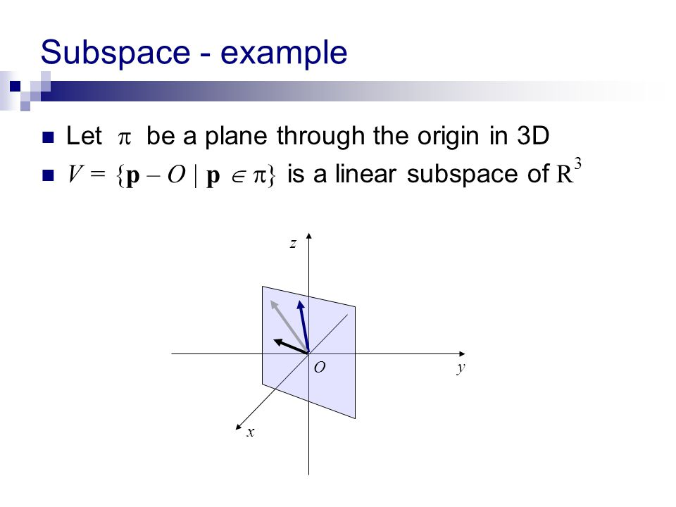 Subspace - example Let  be a plane through the origin in 3D