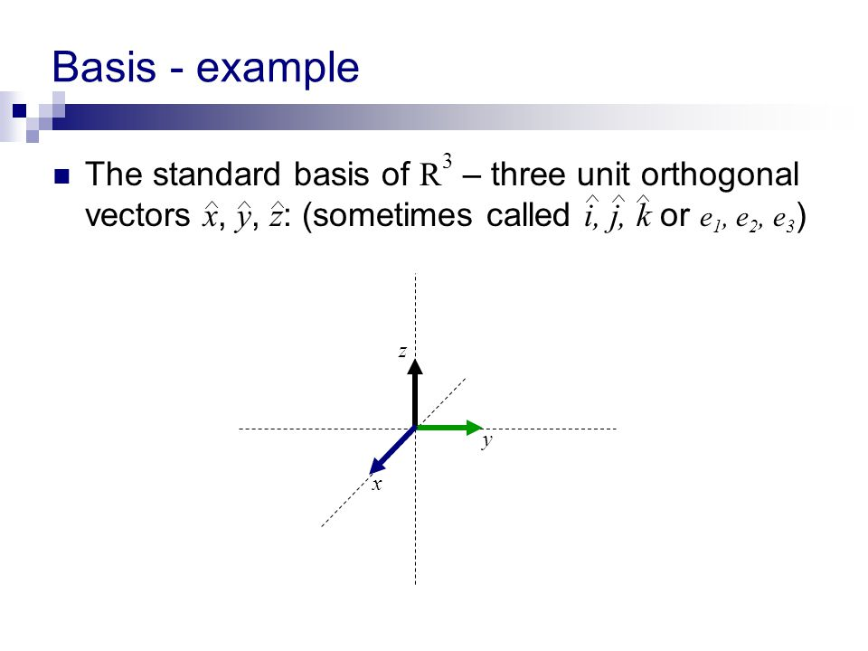 Basis - example The standard basis of R3 – three unit orthogonal vectors x, y, z: (sometimes called i, j, k or e1, e2, e3)