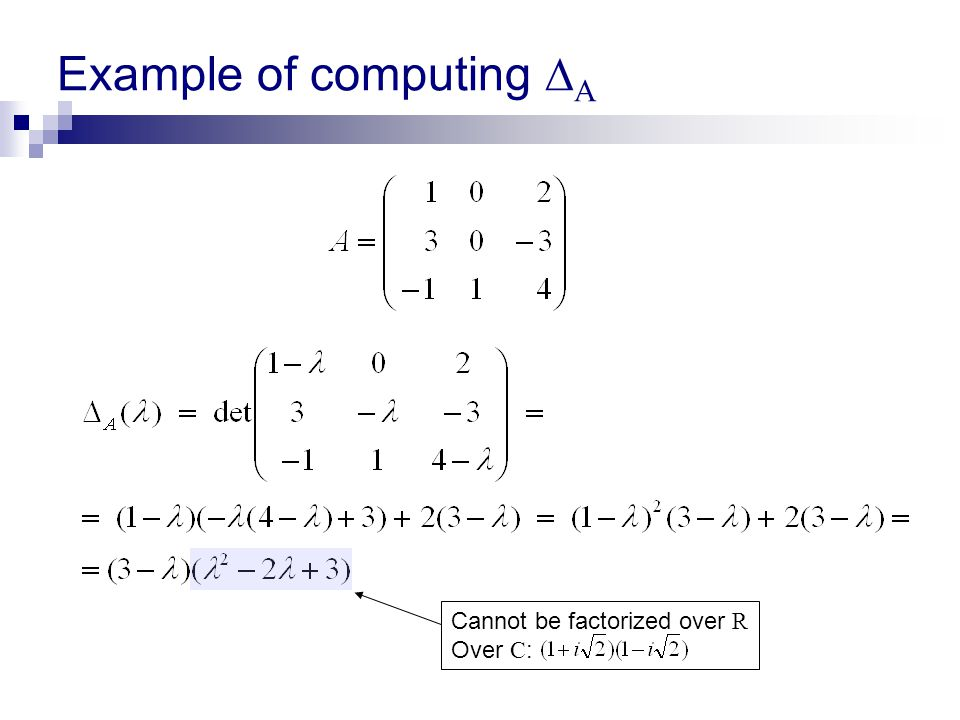 Example of computing A