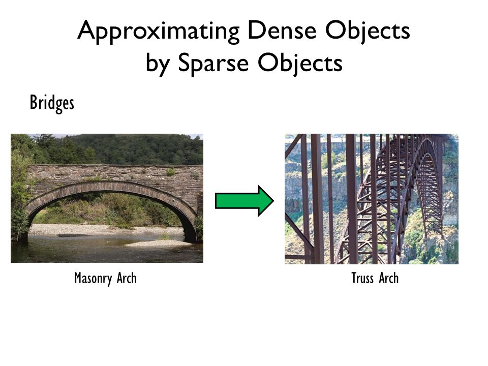 Approximating Dense Objects by Sparse Objects