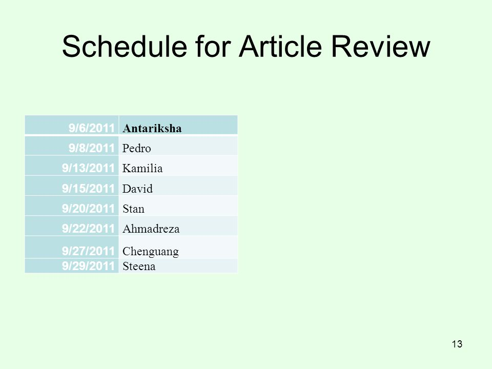 Schedule for Article Review
