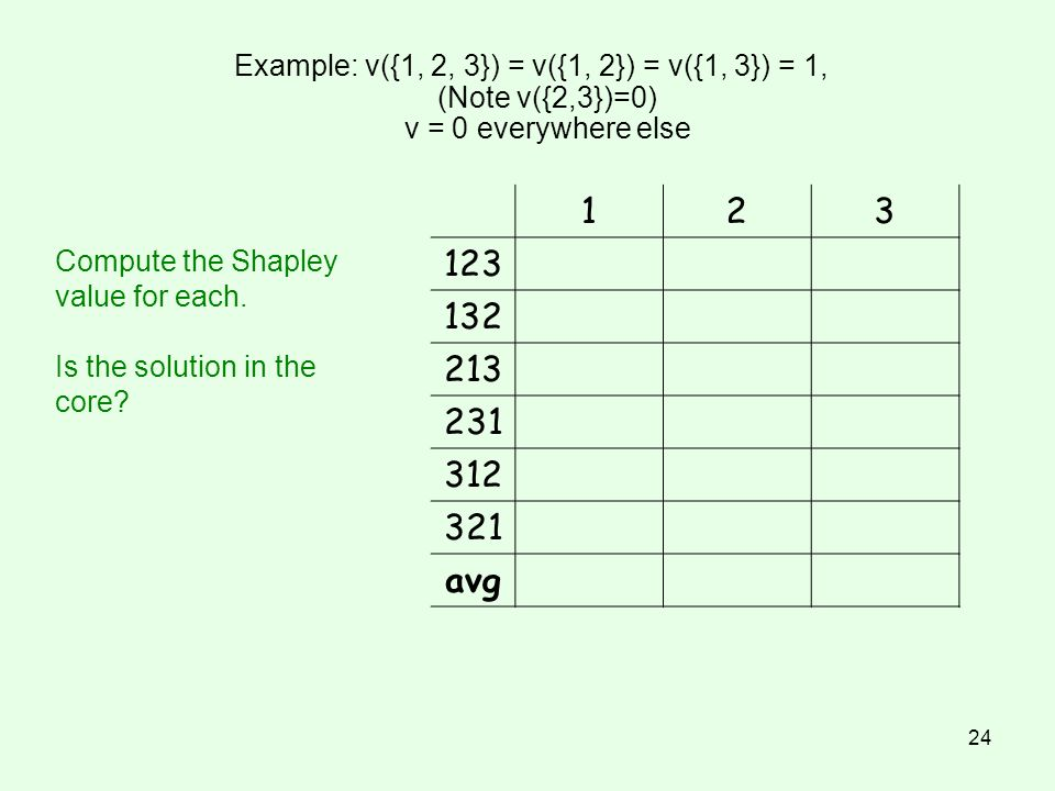Example: v({1, 2, 3}) = v({1, 2}) = v({1, 3}) = 1, (Note v({2,3})=0) v = 0 everywhere else