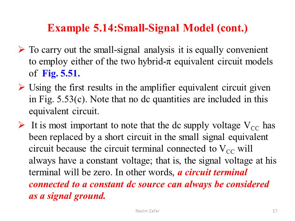 Example 5.14:Small-Signal Model (cont.)