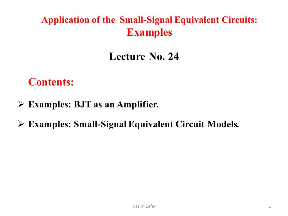 Application of the Small-Signal Equivalent Circuits: Examples