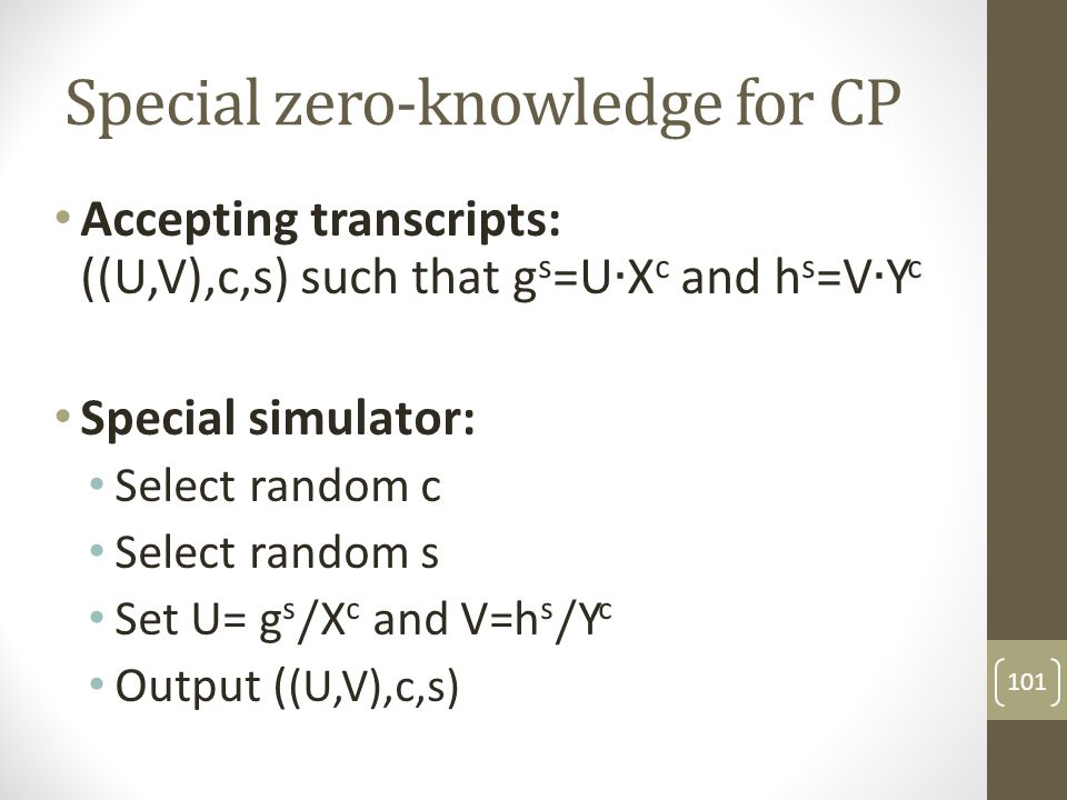 Special zero-knowledge for CP