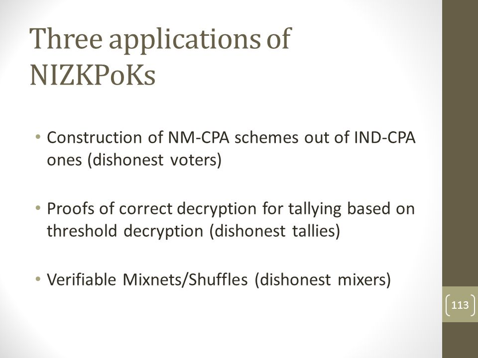 Three applications of NIZKPoKs