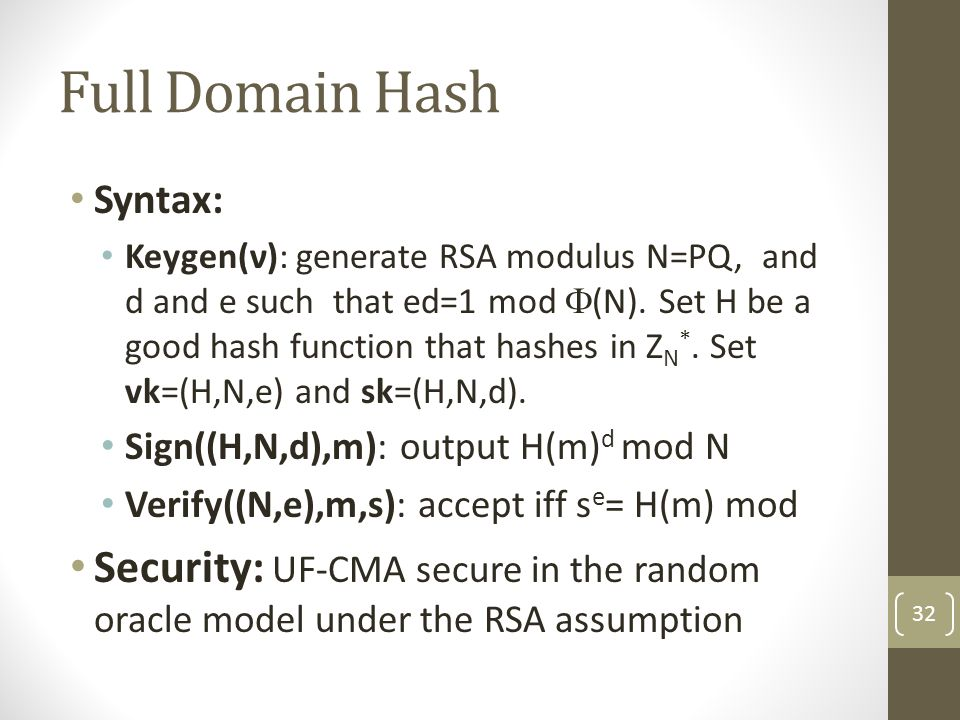 Full Domain Hash Syntax: