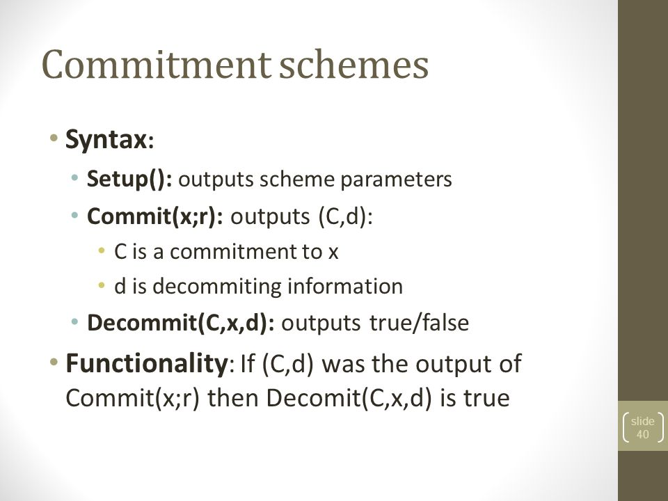 Commitment schemes Syntax: