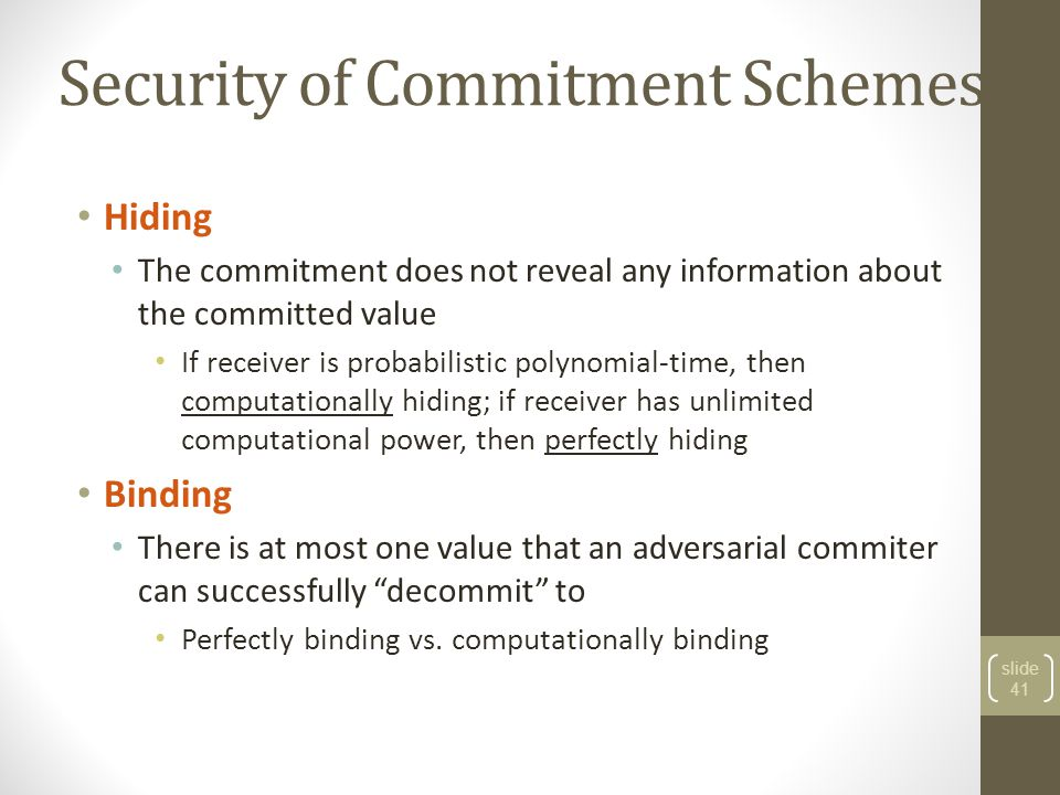 Security of Commitment Schemes