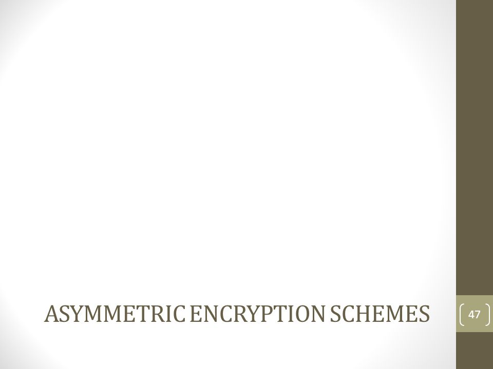Asymmetric Encryption schemes