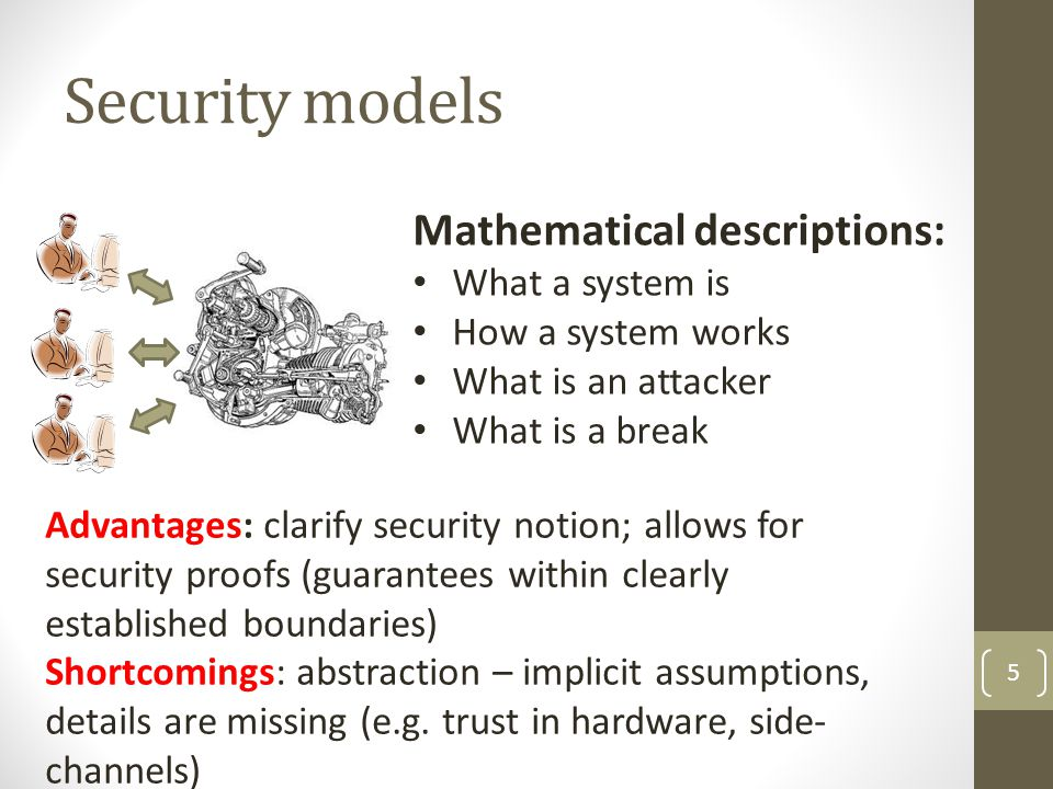 Security models Mathematical descriptions: What a system is
