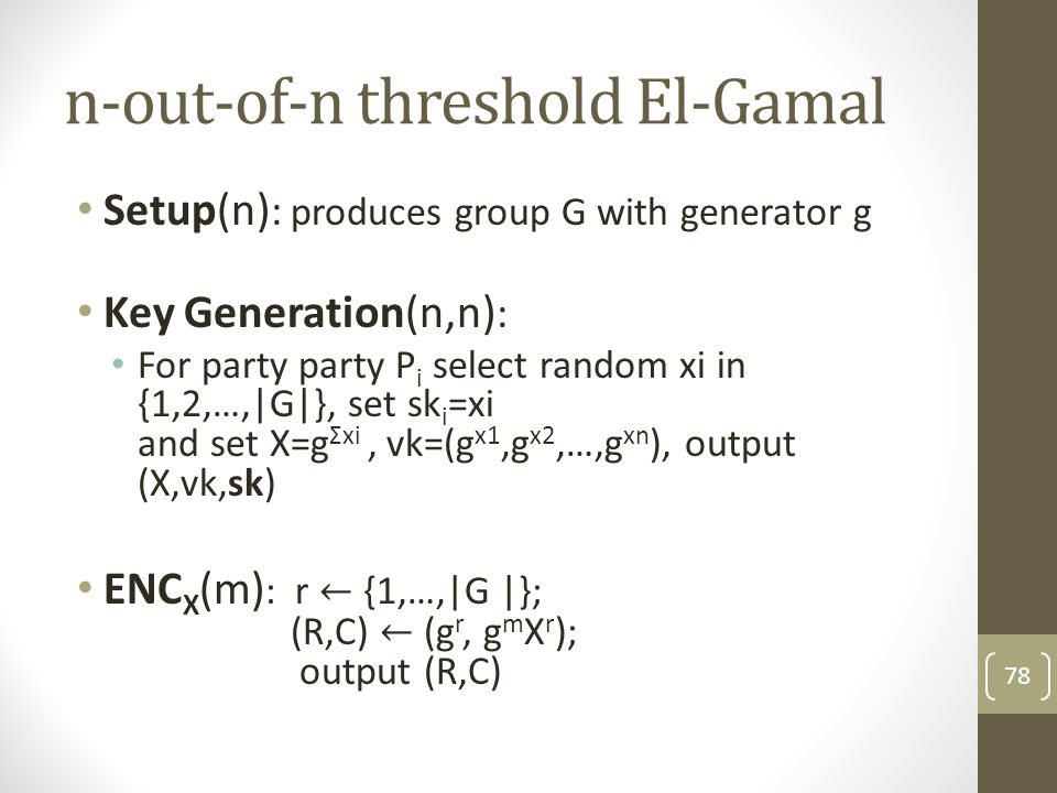 n-out-of-n threshold El-Gamal