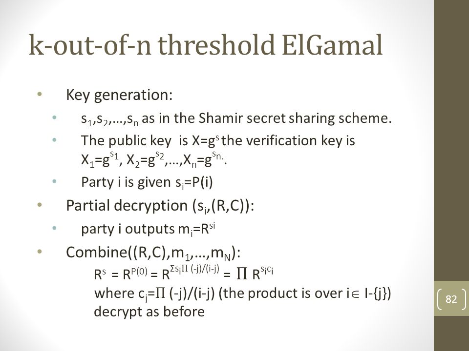 k-out-of-n threshold ElGamal