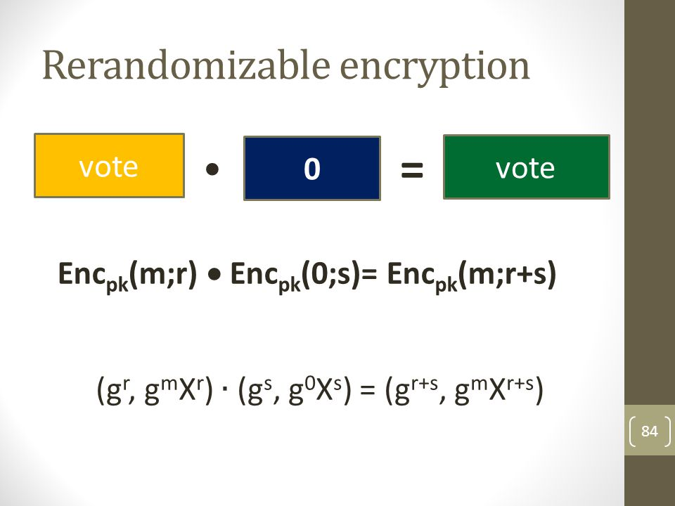 Rerandomizable encryption
