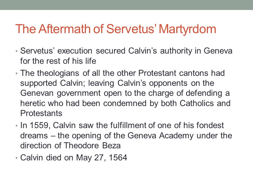 The Aftermath of Servetus' Martyrdom