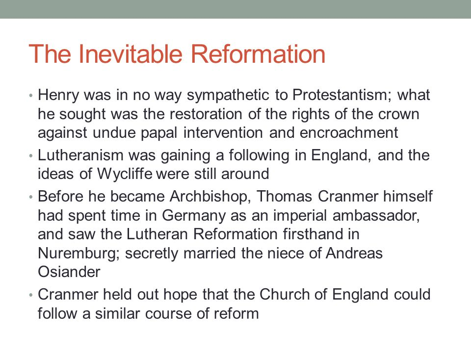 The Inevitable Reformation