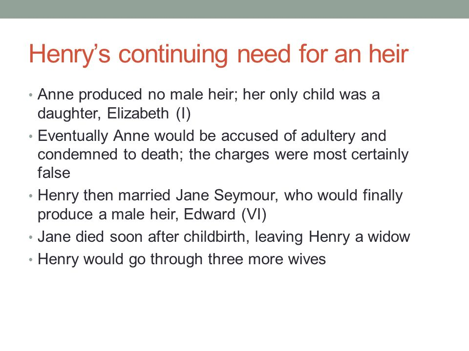 Henry's continuing need for an heir
