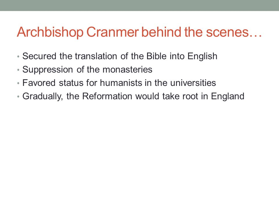 Archbishop Cranmer behind the scenes…