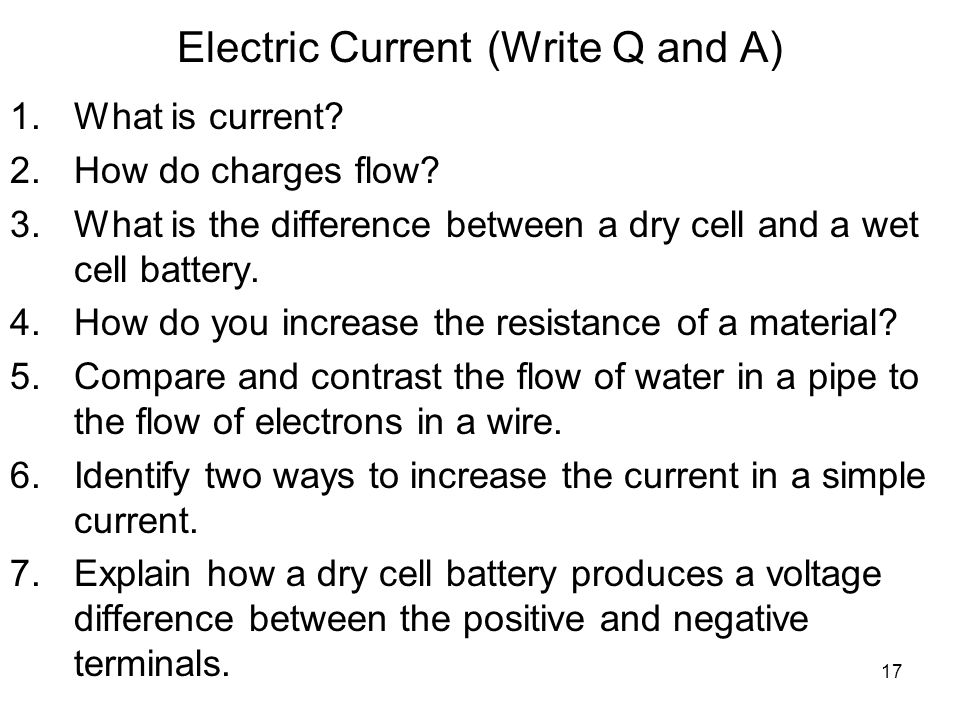 Electric Current (Write Q and A)